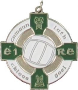 Silver & Green 34mm Gaelic Football Medal